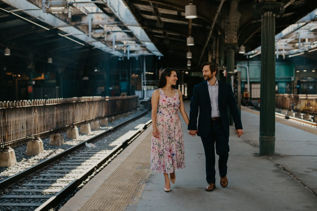 hoboken train terminal engagement session by NJ engagement photographer Mile Square Moments