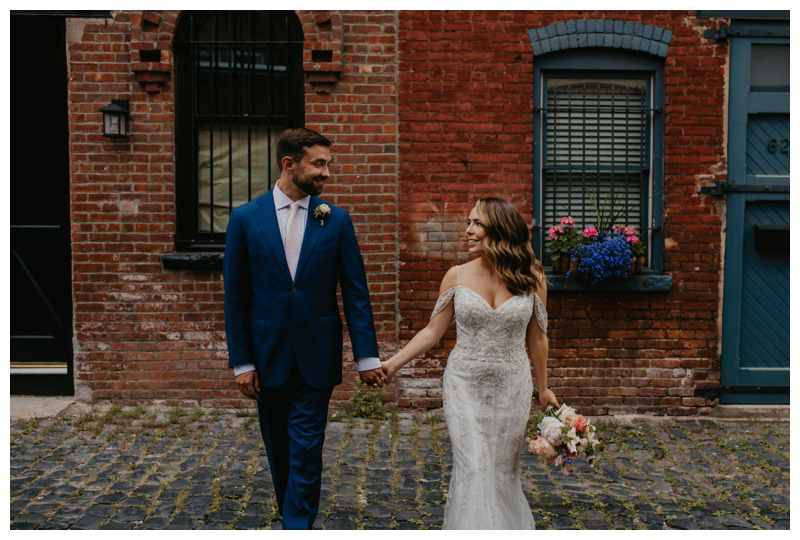 Stylish bride and groom during Hoboken microwedding in NJ captured by best Hoboken wedding photographer Mile Square Moments