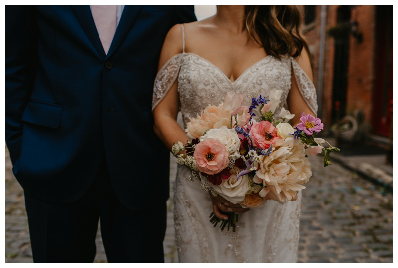 Pink cream and purple bridal bouquet by Park & Bloom wedding flowers
