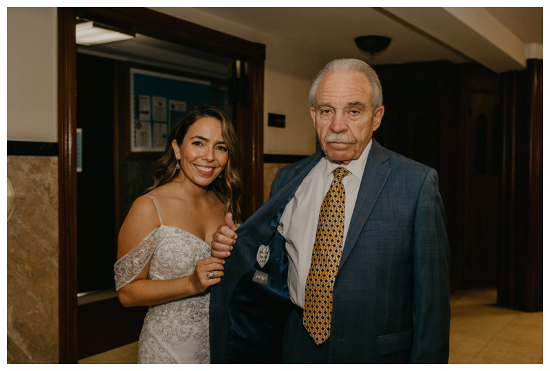 Bride and father before walking down the aisle at Hoboken wedding