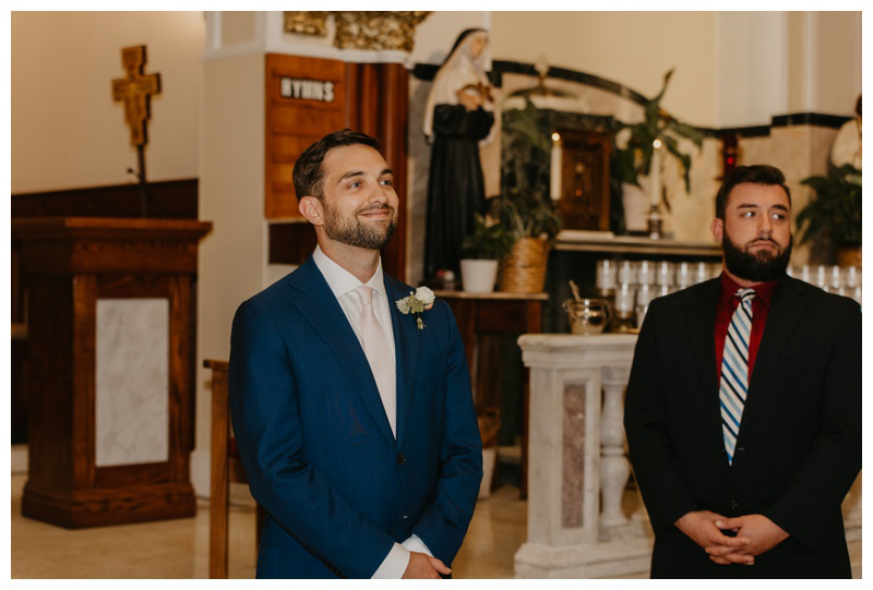 Groom's reaction to bride coming down the aisle at Hoboken microwedding