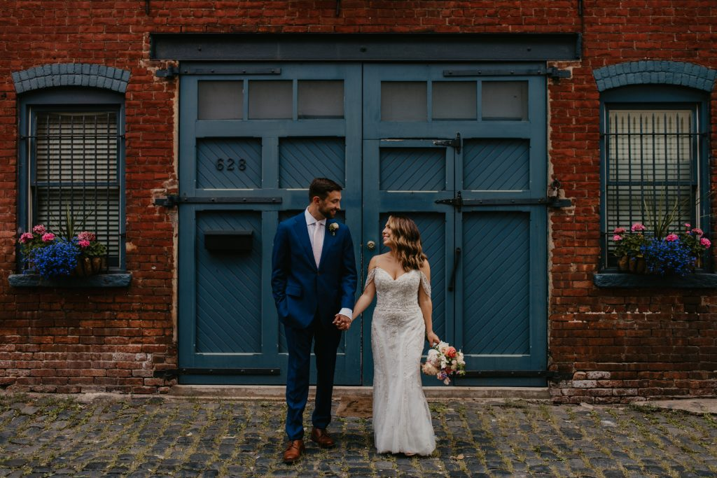 Court Street wedding photo featuring coronavirus couple