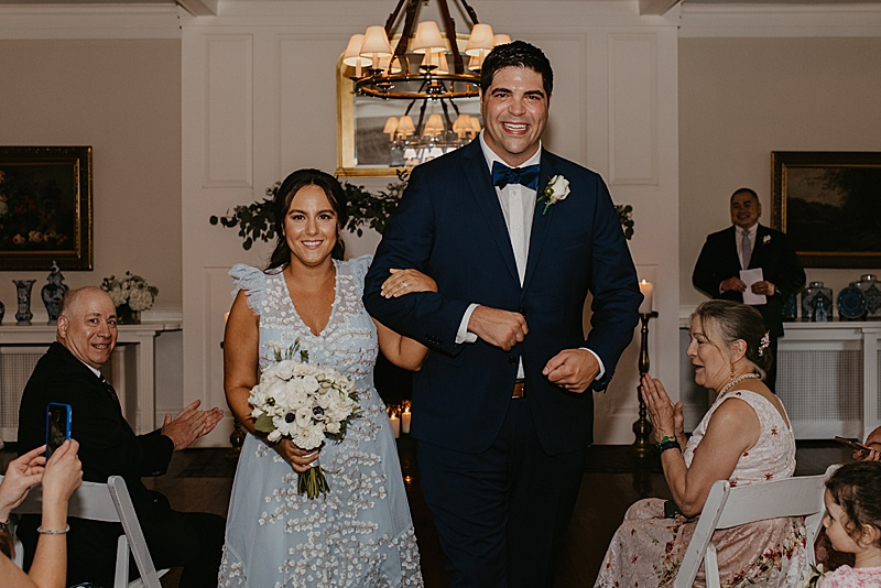 Newlyweds process from micro wedding ceremony in New Jersey