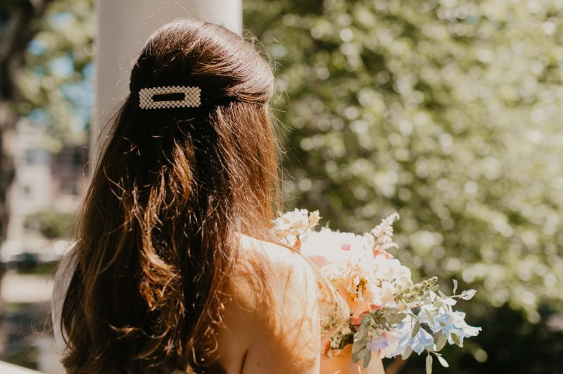 Last minute elopement - bride did her own hair and makeup.