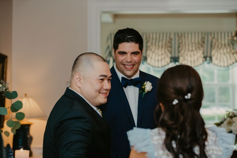 Groom Smiles and Bride during NJ Ceremony