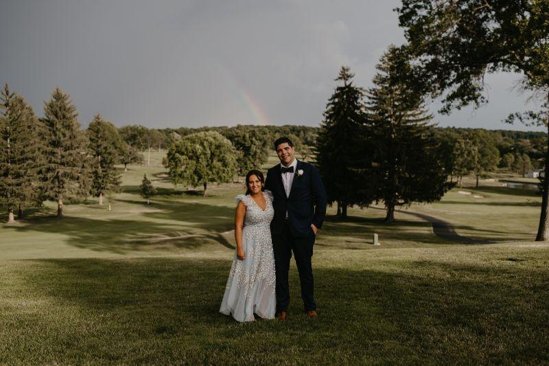 Wedding Couple Portraits in Hoboken New Jersey - Rainbow on wedding day