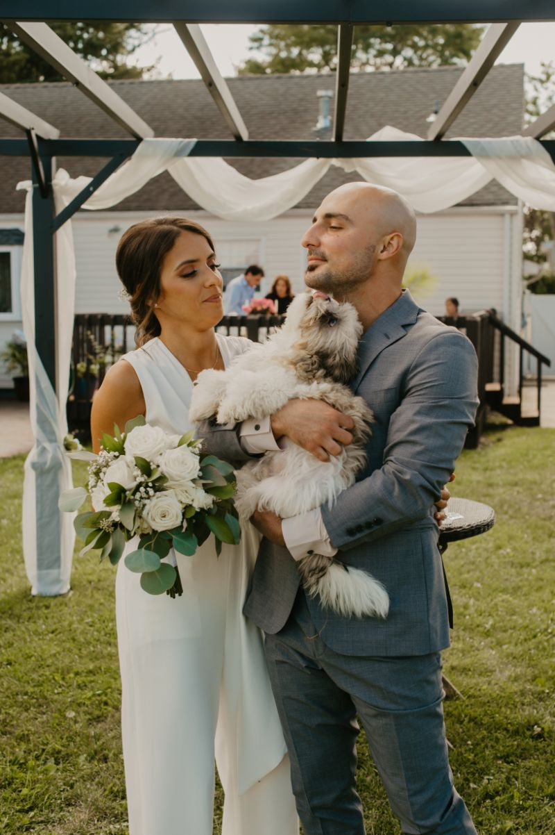 dog kisses grooms face during their backyard wedding