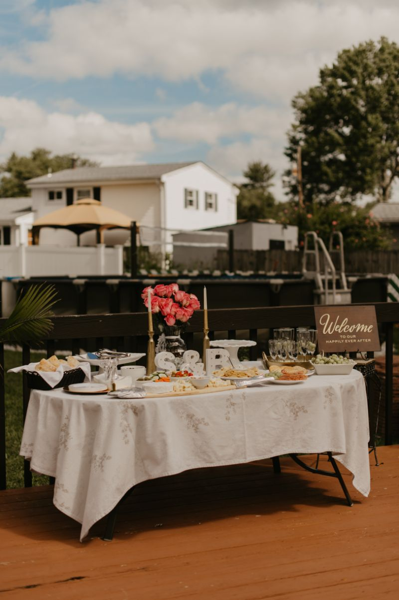 welcome table for backyard wedding in new jersey