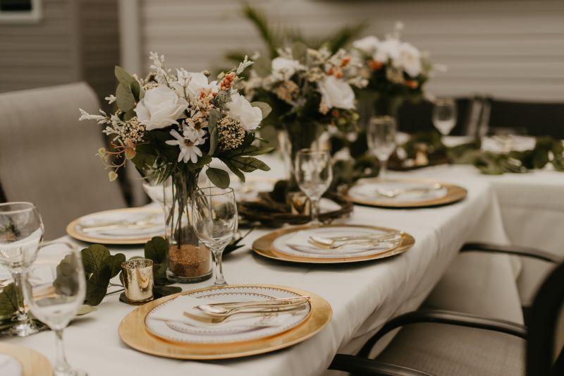 backyard wedding reception table setup