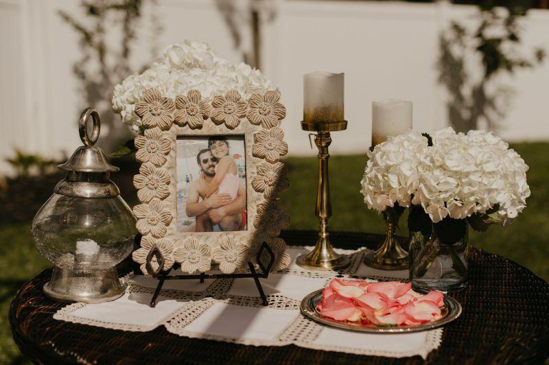 welcome table for backyard wedding