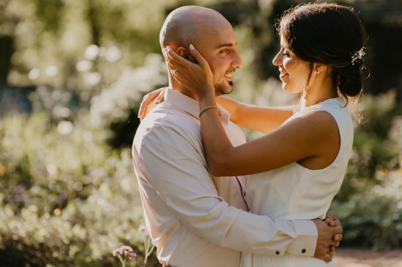 New Jersey bride and groom looking into each other's eyes