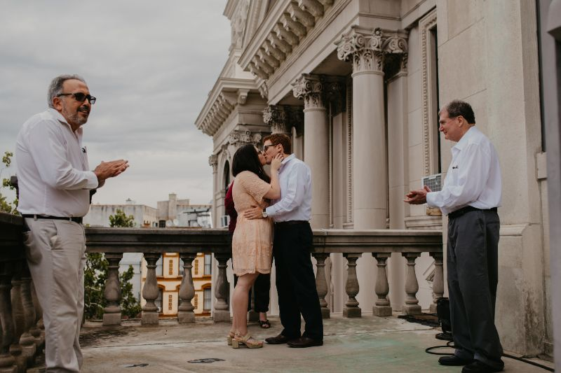 jersey city wedding ceremony first kiss with bride and groom