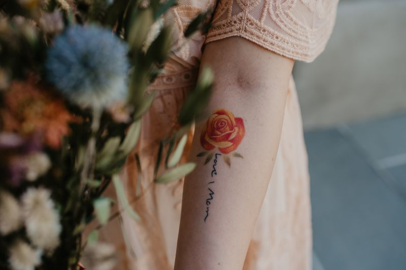 bride tattoo matches new jersey bridal bouquet