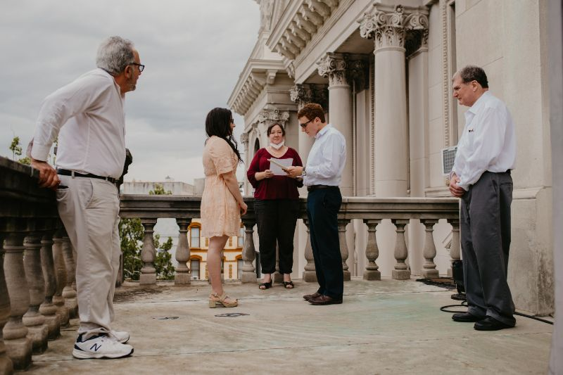 outdoor jersey city wedding ceremony at city hall terrace