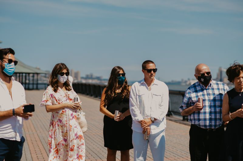 Wedding guests with face masks
