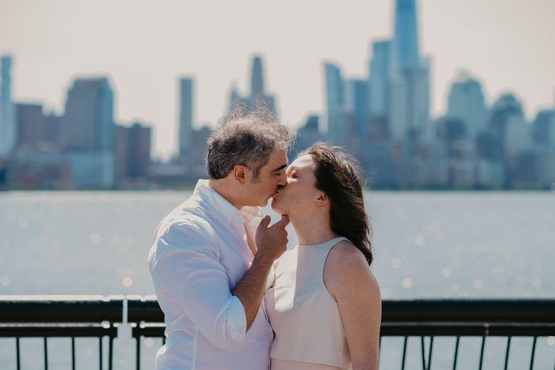 First Kiss at Hoboken New Jersey Wedding