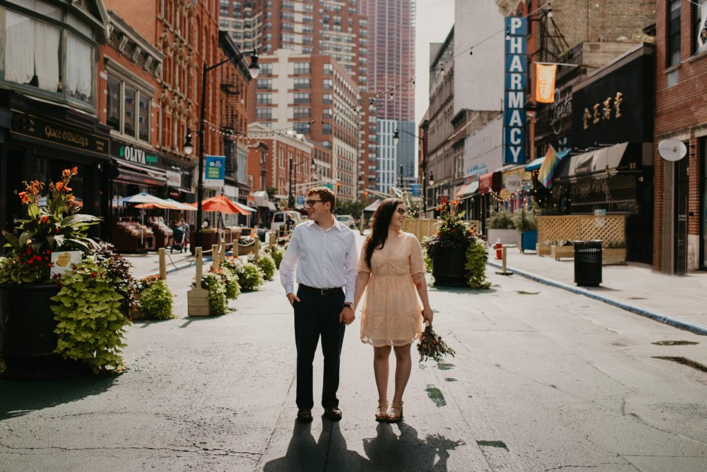 Jersey City Elopement City Hall Wedding Couple on the streets of Jersey City