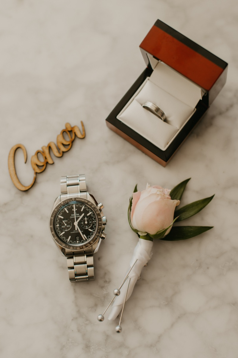 New Jersey Wedding Flat Lay with Watch, Boutonniere and Rings