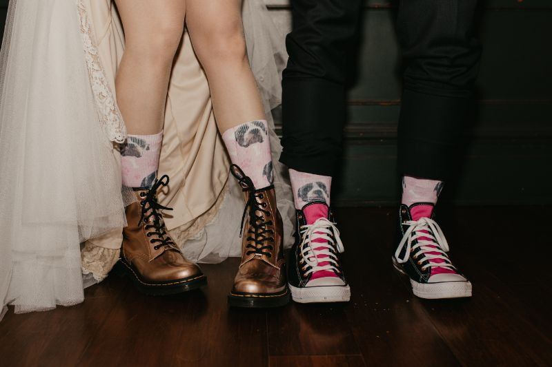 Custom fun matching bride and groom socks