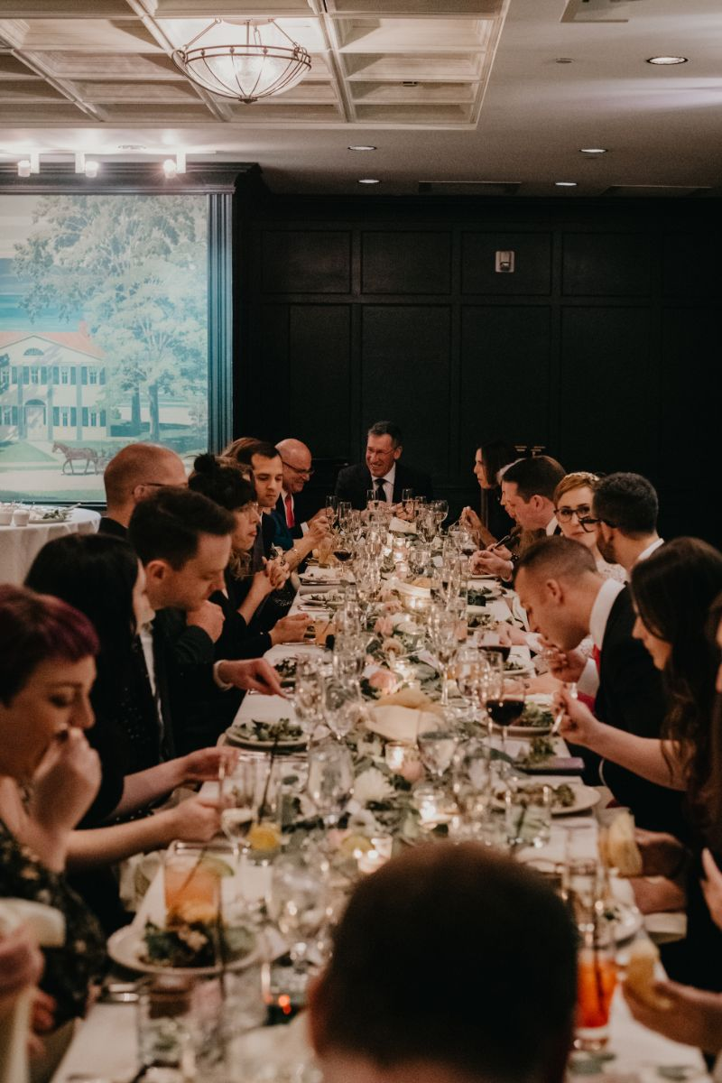 One table for the wedding instead of a sweetheart table