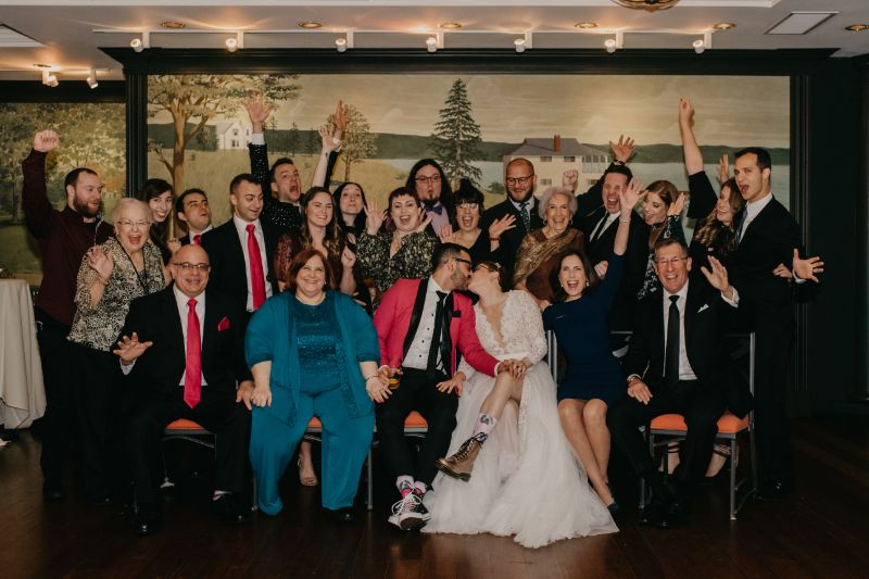Small wedding group photo for the Aurora reception