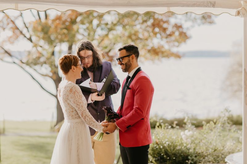 Aurora Inn Wedding Ceremony with Finger Lakes View