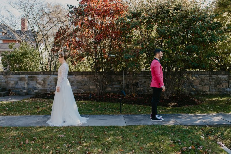Bride and Groom First Look Photos in Upstate New York