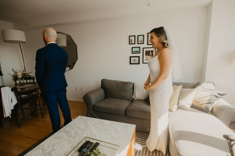 New York Apartment Wedding First Look