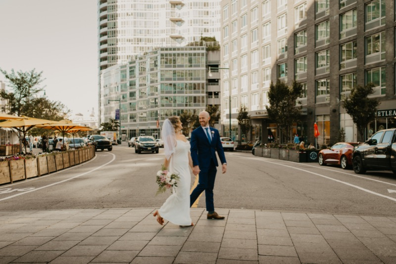 Outdoor Wedding Photos in New York Long Island City crossing the street