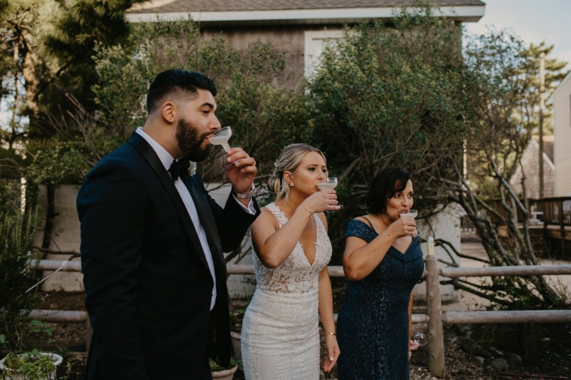 Champagne toast after New Jersey micro wedding reception