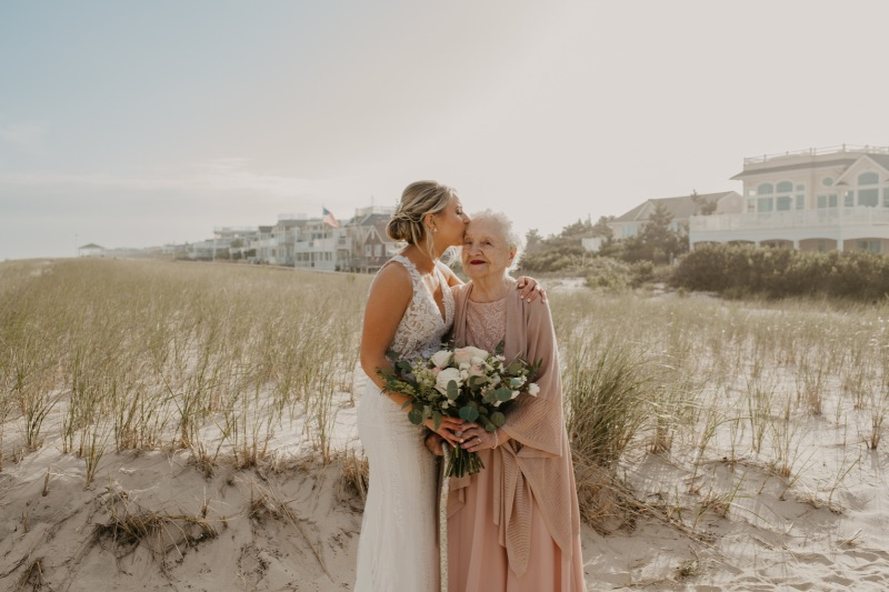 Bride and her grandma on Long Beach Island New Jersey