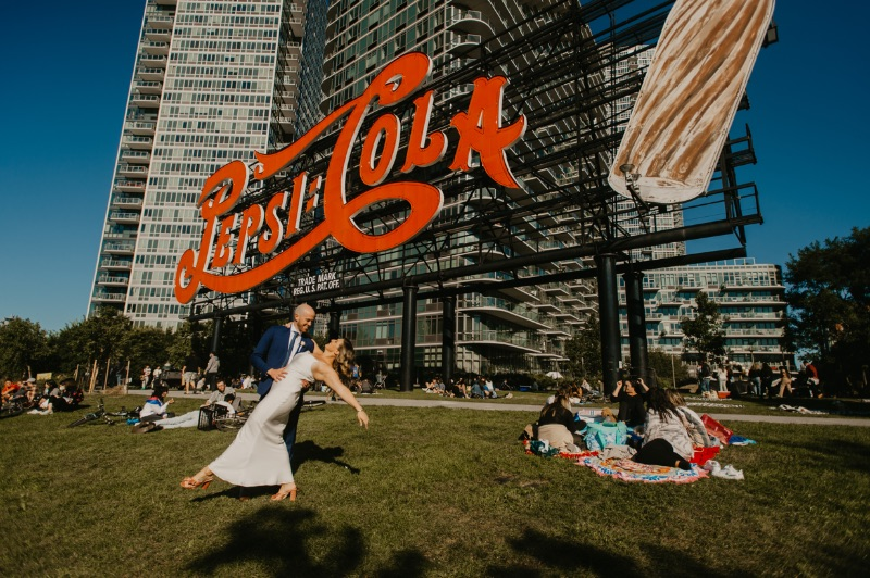 Outdoor Wedding Photos in New York Long Island City in front of Pepsi Cola building