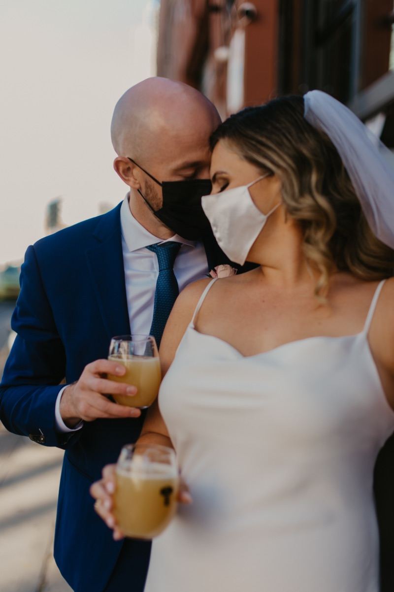 Bride and Groom in matching face masks