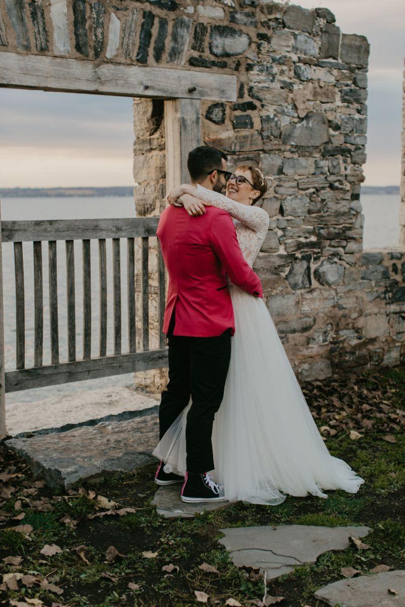 Sunset wedding photos at Aurora Inn in Upstate New York Finger Lakes