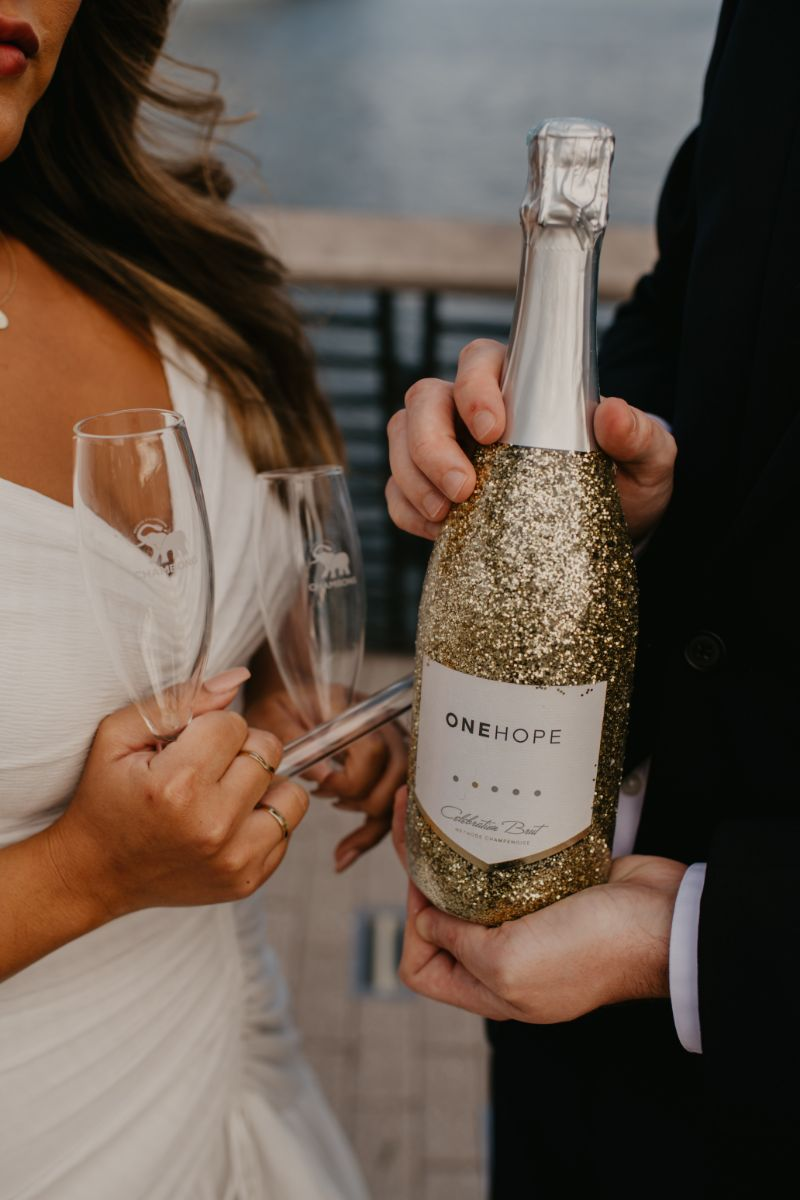 Champagne with bride and groom and Chambong Glasses