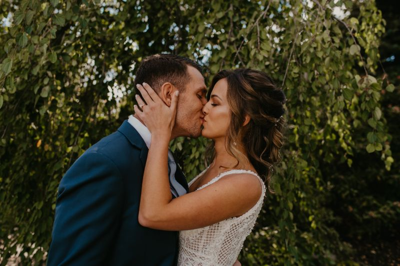 First Kiss during First Look in New Jersey Wedding