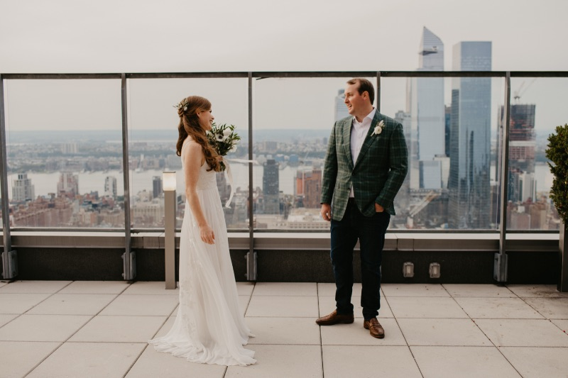 First Look Wedding on Rooftop overlooking downtown New York City