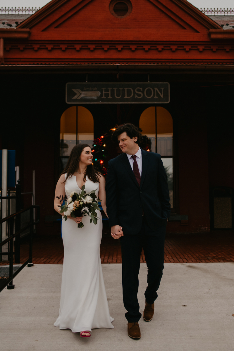 hometown wedding in upstate New York in the winter