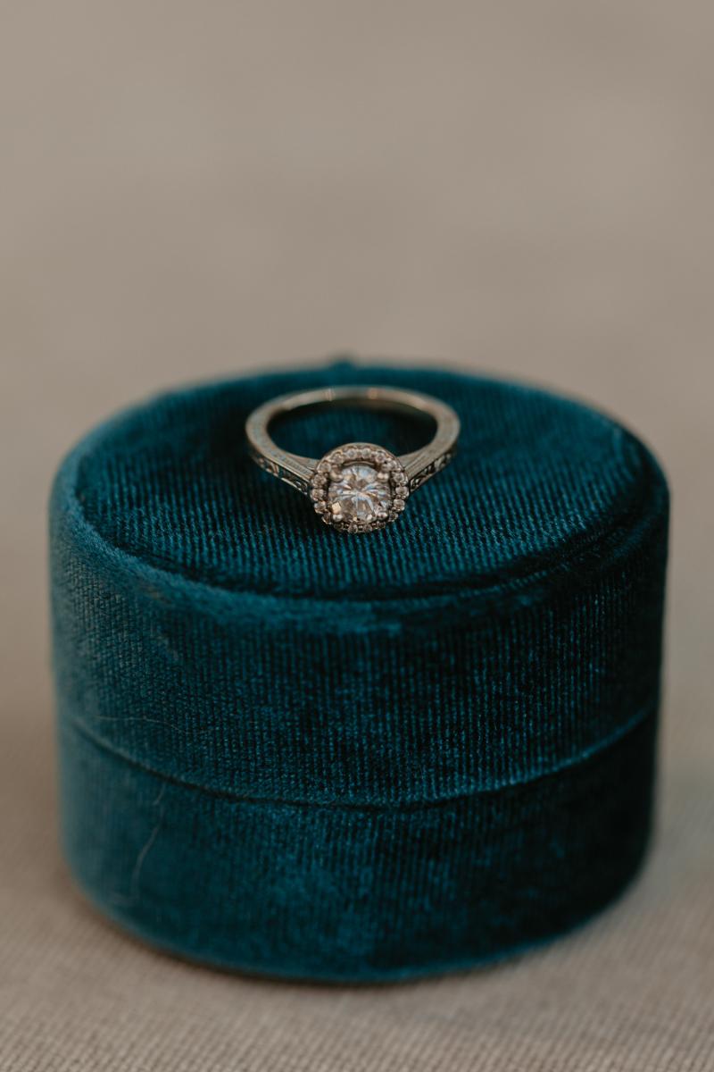 stunning engagement ring in turquoise velvet ring box