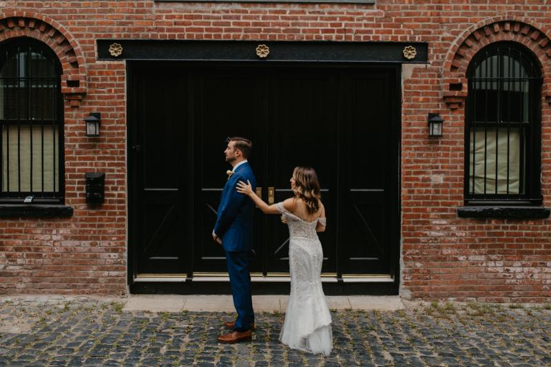 Hoboken Wedding Photography first look outside