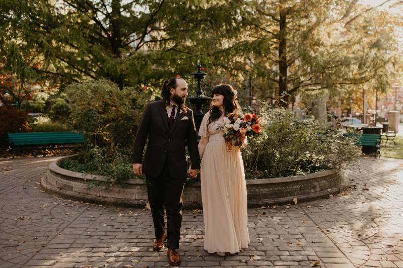 Micro wedding outdoors in New Jersey with unique and alternative couple