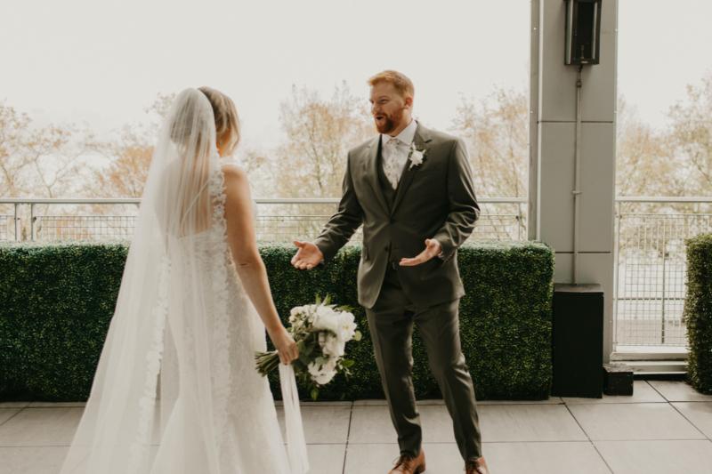 bride and groom first look wedding photos in W Hotel in Hoboken New Jersey