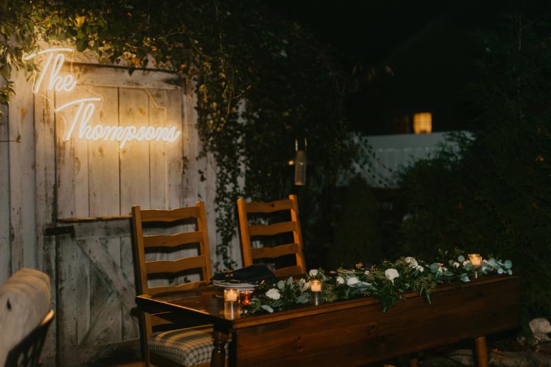 Hoboken New Jersey Backyard wedding reception decor