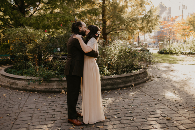 Jersey City bride and groom photos in the fall