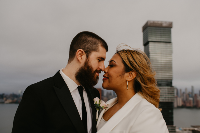 Bride and Groom Photos in front of Jersey City skyline