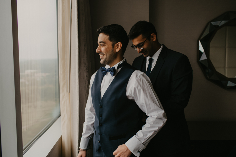 Groom getting ready with best man