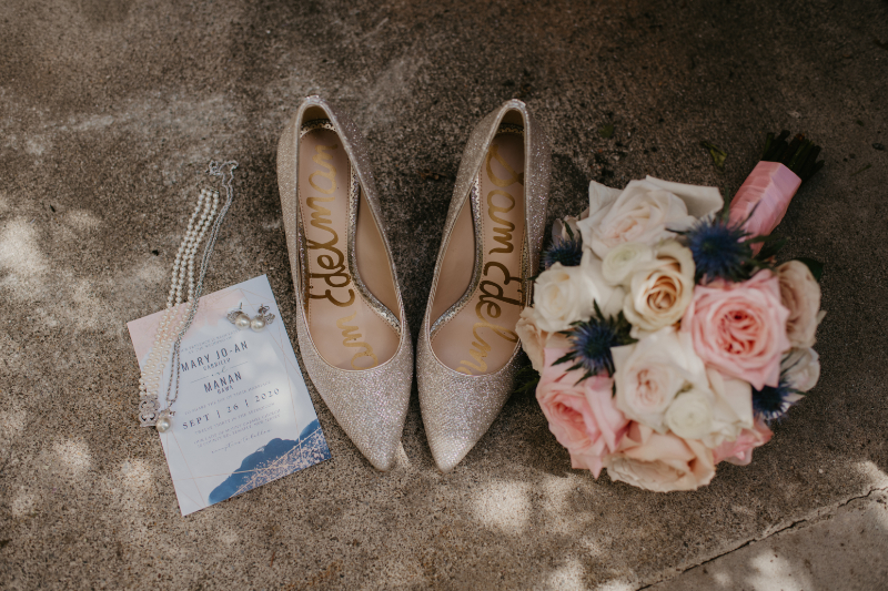 New Jersey wedding detail shots with shoes, bouquet, jewelry and invitation