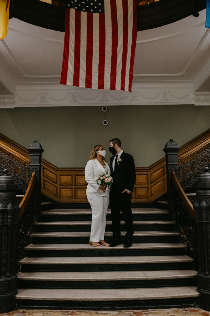 City Hall Elopement in Jersey City With Bride and Groom wearing face masks