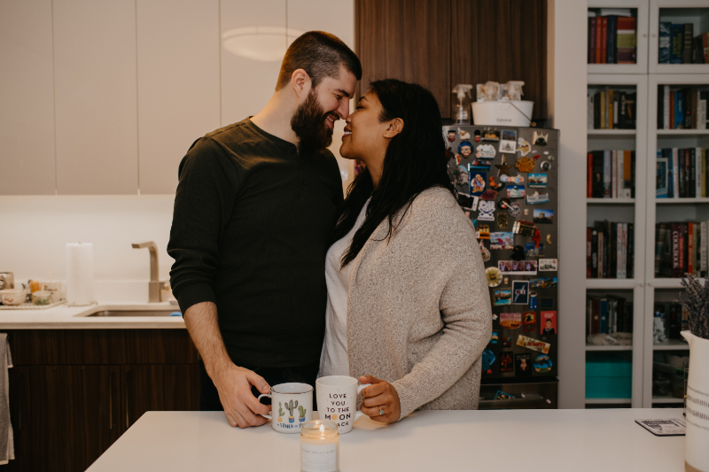 Engagement photos at home in Jersey City