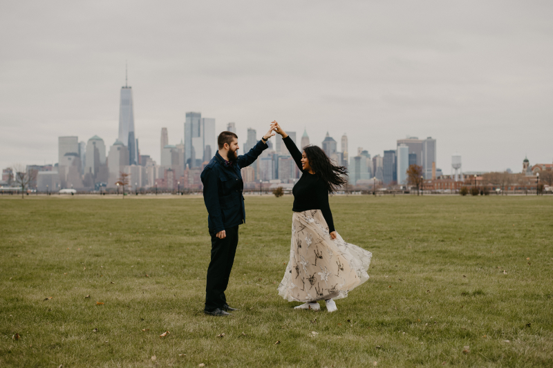 Jersey city engagement photos outside
